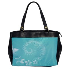 Cyan Abstract Flowers Oversize Office Handbag (one Side)