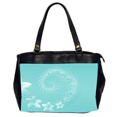 Cyan Abstract Flowers Oversize Office Handbag (two Sides)