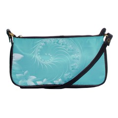 Cyan Abstract Flowers Evening Bag