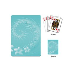 Cyan Abstract Flowers Playing Cards (mini)
