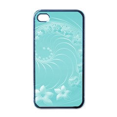 Cyan Abstract Flowers Apple iPhone 4 Case (Black)