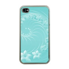 Cyan Abstract Flowers Apple Iphone 4 Case (clear)