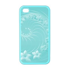 Cyan Abstract Flowers Apple iPhone 4 Case (Color)