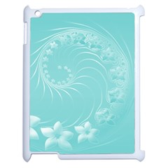 Cyan Abstract Flowers Apple iPad 2 Case (White)