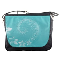 Cyan Abstract Flowers Messenger Bag