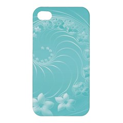 Cyan Abstract Flowers Apple iPhone 4/4S Premium Hardshell Case