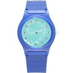 Cyan Abstract Flowers Plastic Sport Watch (small)