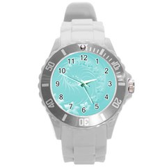 Cyan Abstract Flowers Plastic Sport Watch (Large)