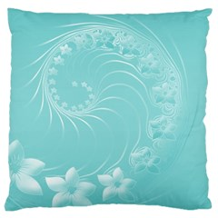 Cyan Abstract Flowers Large Cushion Case (One Side)