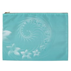 Cyan Abstract Flowers Cosmetic Bag (xxl)