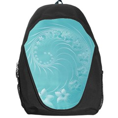 Cyan Abstract Flowers Backpack Bag