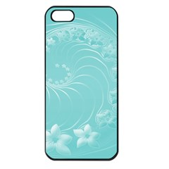 Cyan Abstract Flowers Apple Iphone 5 Seamless Case (black)