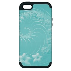 Cyan Abstract Flowers Apple iPhone 5 Hardshell Case (PC+Silicone)