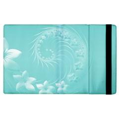 Cyan Abstract Flowers Apple iPad 2 Flip Case