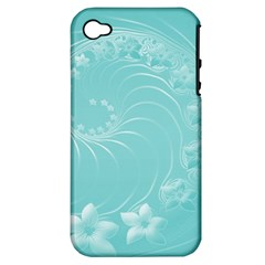 Cyan Abstract Flowers Apple iPhone 4/4S Hardshell Case (PC+Silicone)