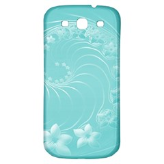 Cyan Abstract Flowers Samsung Galaxy S3 S III Classic Hardshell Back Case