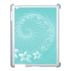 Cyan Abstract Flowers Apple iPad 3/4 Case (White)