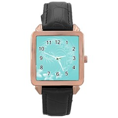 Cyan Abstract Flowers Rose Gold Leather Watch