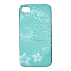 Cyan Abstract Flowers Apple iPhone 4/4S Hardshell Case with Stand