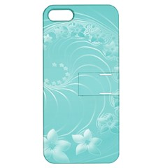 Cyan Abstract Flowers Apple iPhone 5 Hardshell Case with Stand