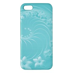 Cyan Abstract Flowers iPhone 5 Premium Hardshell Case