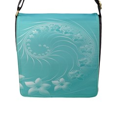 Cyan Abstract Flowers Flap Closure Messenger Bag (Large)
