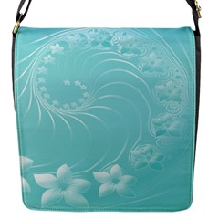 Cyan Abstract Flowers Flap Closure Messenger Bag (small)