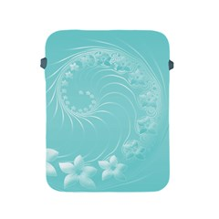 Cyan Abstract Flowers Apple iPad 2/3/4 Protective Soft Case