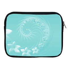 Cyan Abstract Flowers Apple iPad 2/3/4 Zipper Case