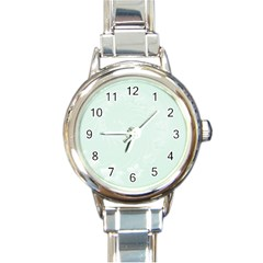 Pastel Green Abstract Flowers Round Italian Charm Watch