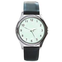 Pastel Green Abstract Flowers Round Metal Watch (Silver Rim)