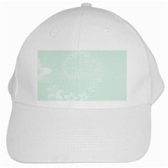 Pastel Green Abstract Flowers White Baseball Cap