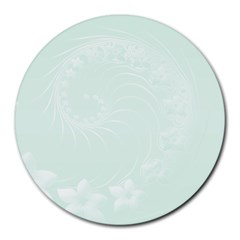 Pastel Green Abstract Flowers 8  Mouse Pad (Round)