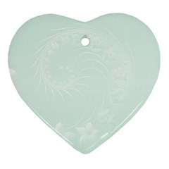Pastel Green Abstract Flowers Heart Ornament