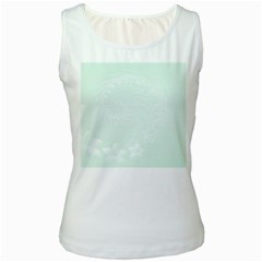 Pastel Green Abstract Flowers Womens  Tank Top (White)