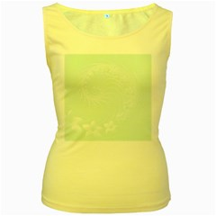Pastel Green Abstract Flowers Womens  Tank Top (Yellow)