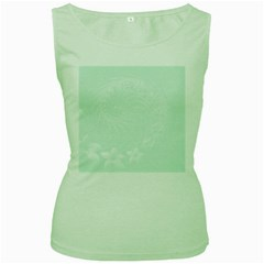 Pastel Green Abstract Flowers Womens  Tank Top (green)