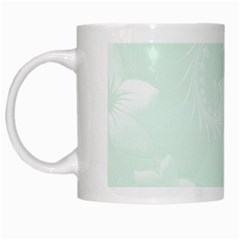 Pastel Green Abstract Flowers White Coffee Mug