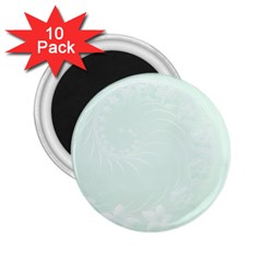 Pastel Green Abstract Flowers 2 25  Button Magnet (10 Pack)