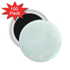 Pastel Green Abstract Flowers 2.25  Button Magnet (100 pack)