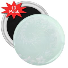 Pastel Green Abstract Flowers 3  Button Magnet (10 Pack)