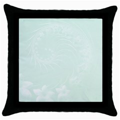 Pastel Green Abstract Flowers Black Throw Pillow Case