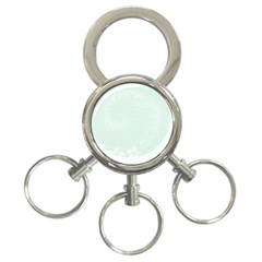 Pastel Green Abstract Flowers 3-Ring Key Chain