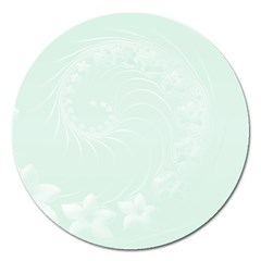 Pastel Green Abstract Flowers Magnet 5  (Round)