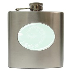 Pastel Green Abstract Flowers Hip Flask
