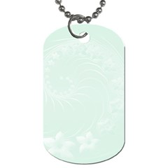Pastel Green Abstract Flowers Dog Tag (Two Sided)