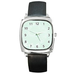 Pastel Green Abstract Flowers Square Leather Watch