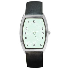 Pastel Green Abstract Flowers Tonneau Leather Watch
