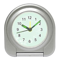 Pastel Green Abstract Flowers Desk Alarm Clock