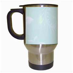 Pastel Green Abstract Flowers Travel Mug (white)
